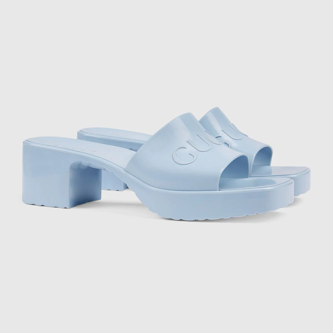 Gucci Rubber Platform Sandals blue