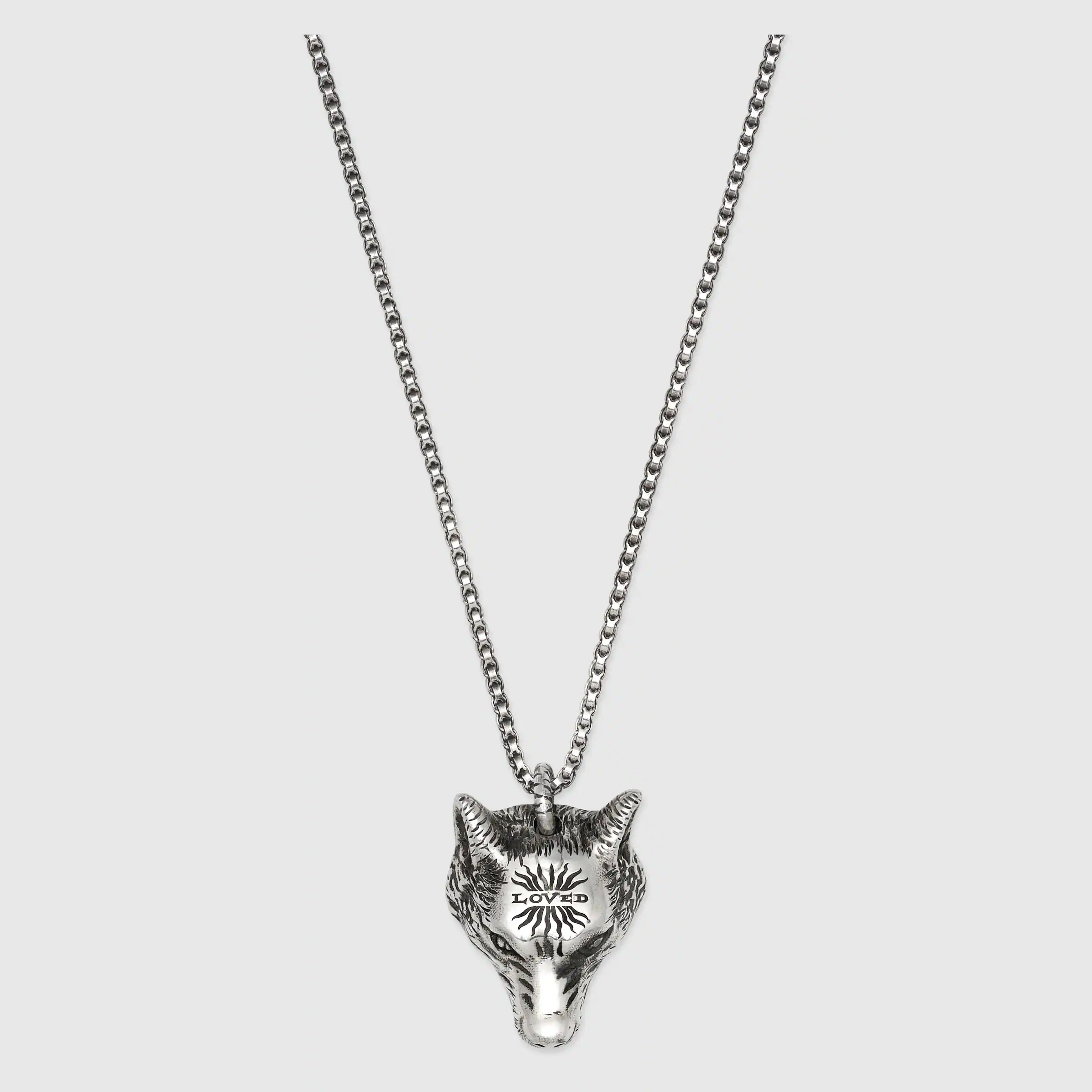 Anger Forest Wolf Head Necklace In Silver