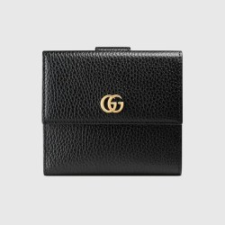 e9632b4810a9 Leather French Flap Wallet In Black Leather Gucci Women's Wallets