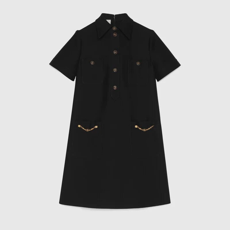 Polo dress with Double G in black | GUCCI® UK