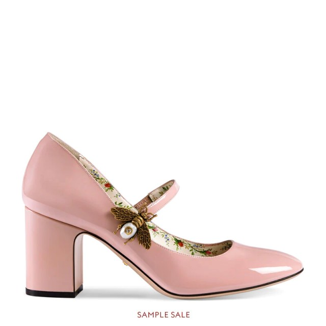 Patent leather mid-heel pump with bee, £625.0