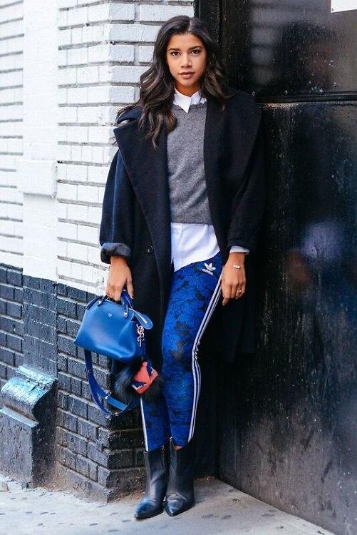 Hannah Bronfman-athleisure-blue adidas leggings