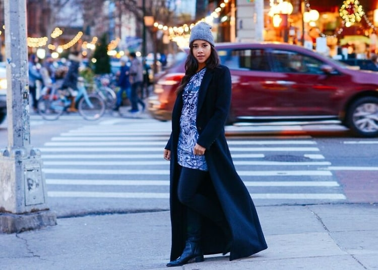 Hannah Bronfman-athleisure-long coat and beanie