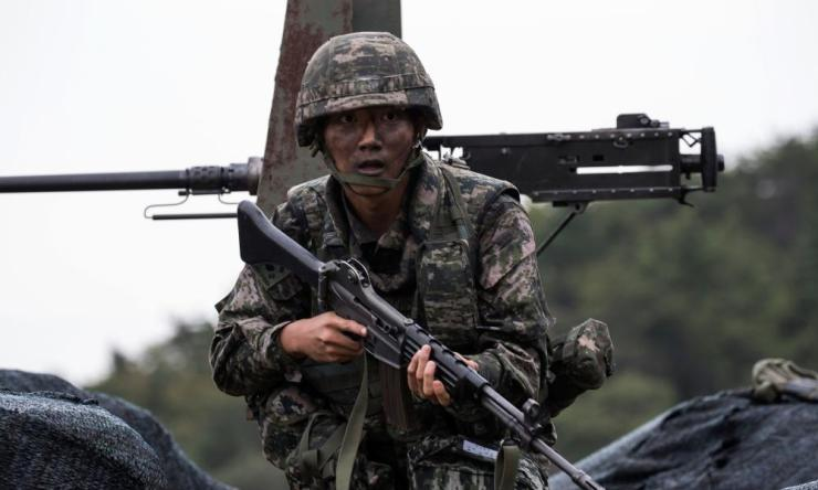 A South Korean marine participating in an exercise this week.