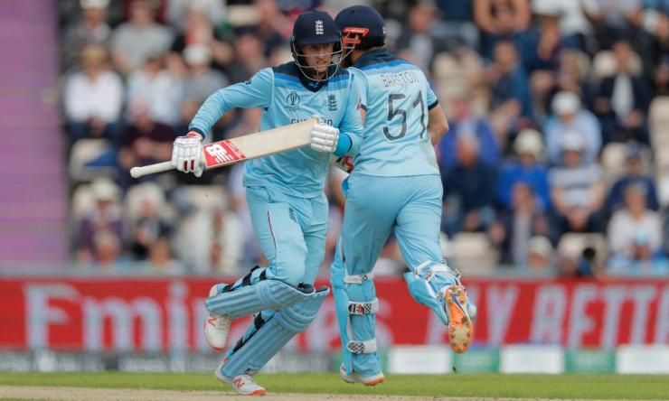Joe Root (left) and Jonny Bairstow add to England's total.