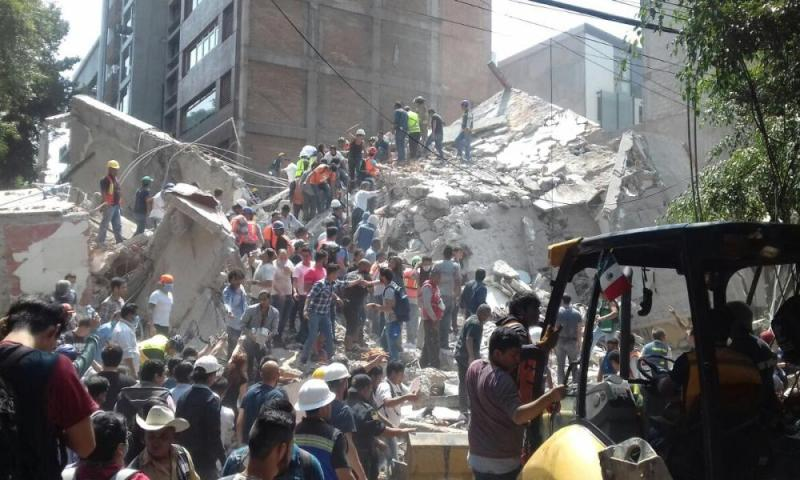 A collapsed building in La Condesa neighbourhood in Mexico City. A 7.1 magnitude earthquake struck Mexico on Tuesday 19 September 2017.