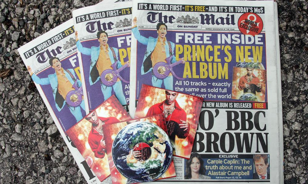Copies of the the Mail on Sunday with the Prince album Planet Earth given away as a free CD in 2007