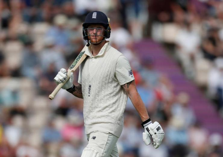 England's Ben Stokes walks off after losing his wicket.