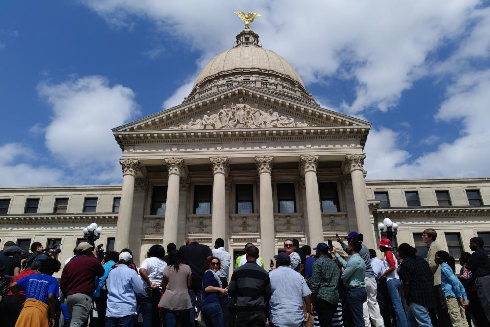 Protesters at the Mississippi statehouse on primary day.