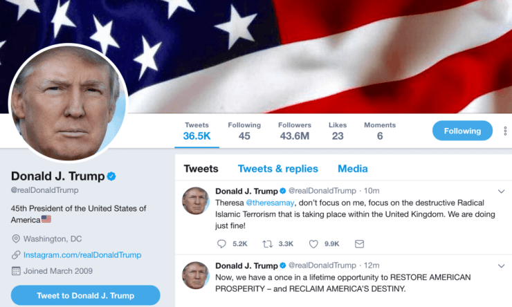 A screenshot of Trump's Twitter account, with the original tweet.