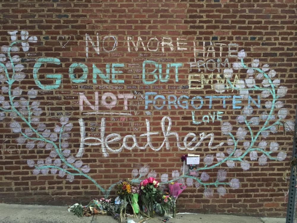 A memorial for Heather Heyer in Charlotesville, Virginia on 25 September 2017.