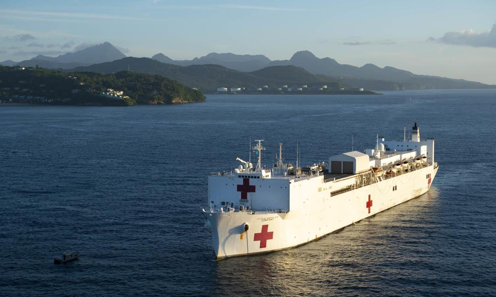 The hospital ship USNS Comfort, anchored off the coast of Castries, Saint Lucia in September 2019.