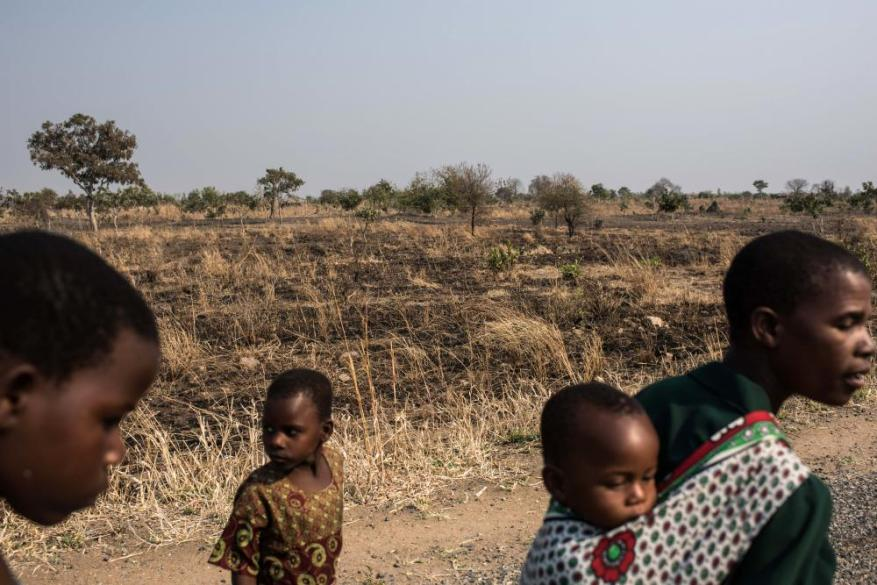 A family in the village of Mulele, near Zomba, which lies in one of the areas of Malawi most affected by drought