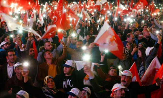 AKP supporters in Ankara, Turkey.