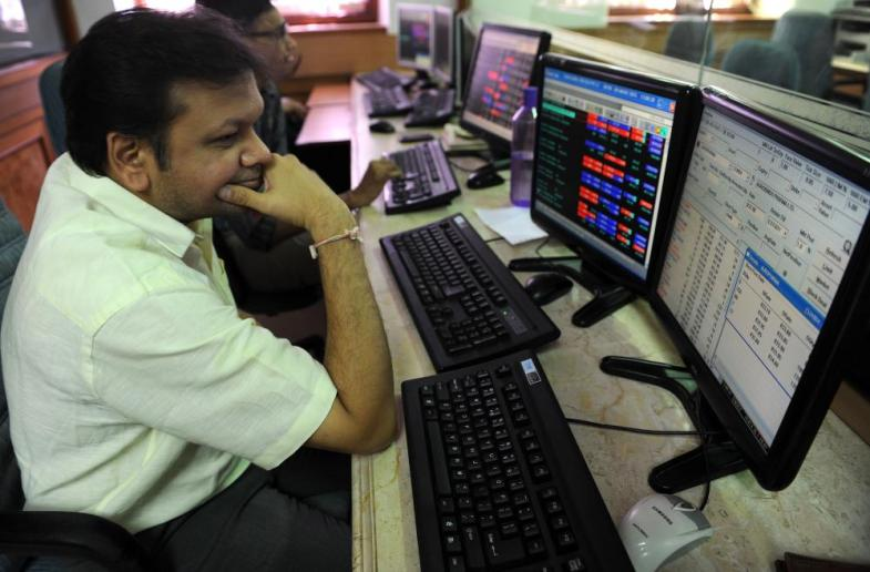 An stockbroker in Mumbai, where the Sensex index is currently up 1.2%