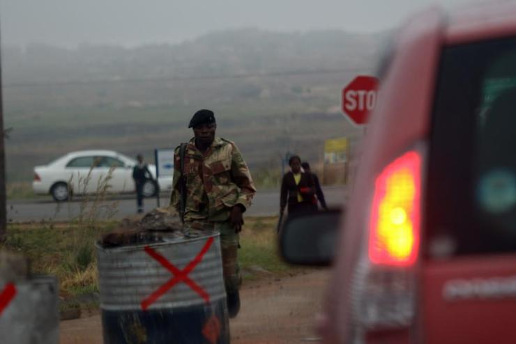 A soldier stands guard in Zimbabwe