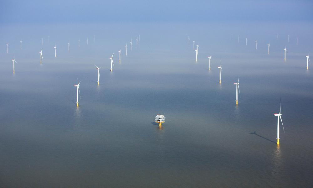 Turbines forming part of the London Array windfarm project in the Thames estuary.