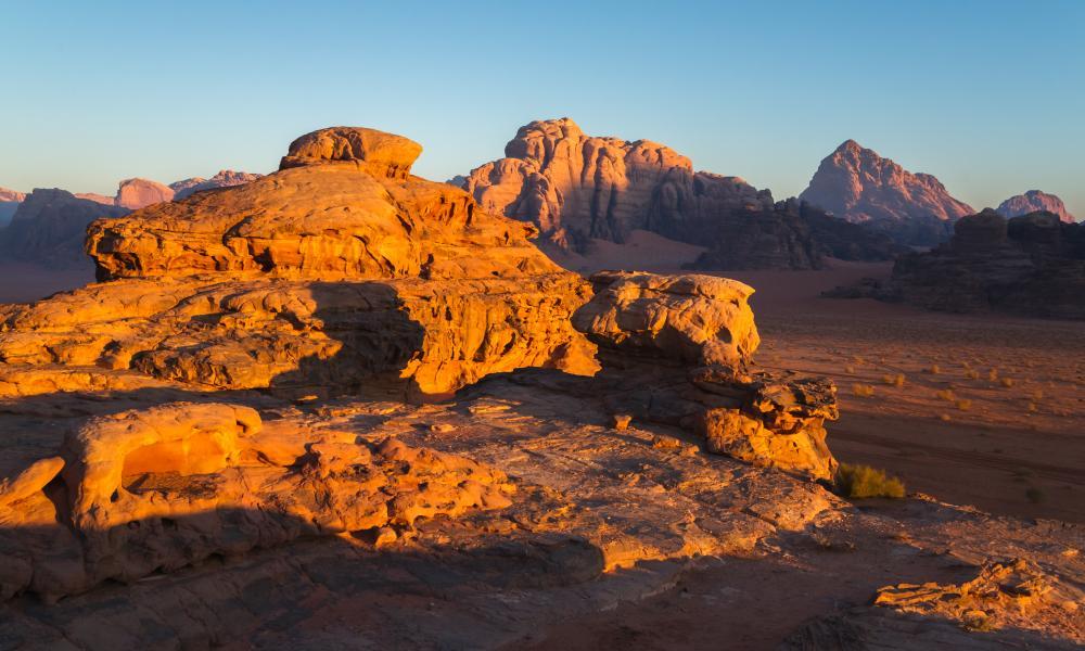 Sunrise in Wadi Rum.