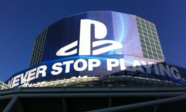 A typically grandiose PlayStation banner above one of the main E3 entrances