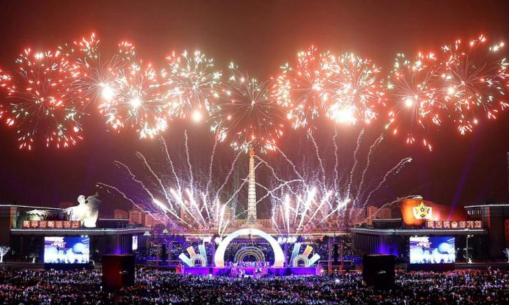 Fireworks are seen during New Year celebrations in Pyongyang.
