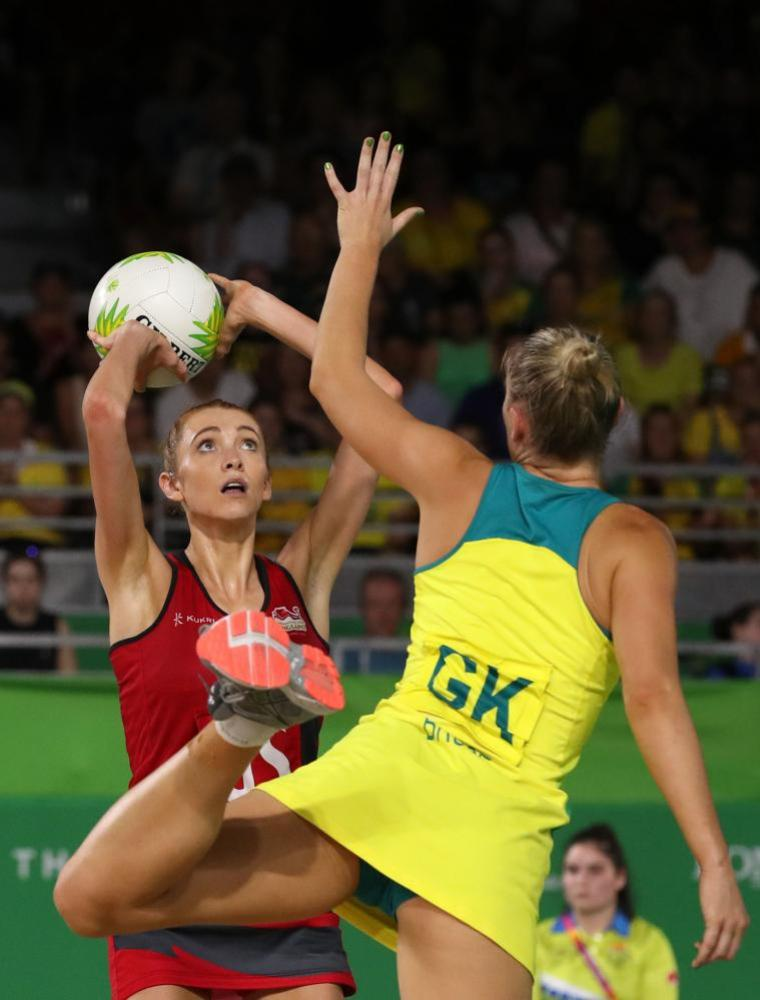 England's Helen Housby wins the netball gold medal for England against Australia.