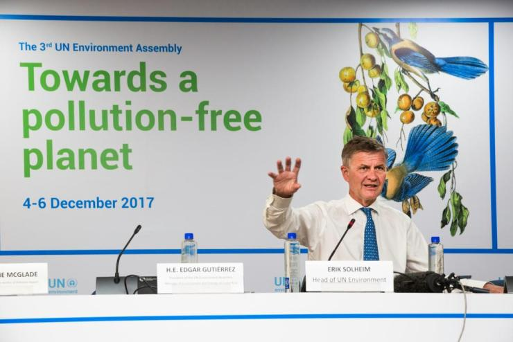 Head of UN environment Erik Solheim at the press conference, UNEA 3, December 2017