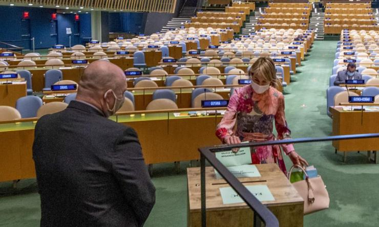 United States ambassador to the United Nations, Kelly Craft, right, casts a vote during UN elections, Wednesday, 17 June 2020, at UN headquarters in New York.