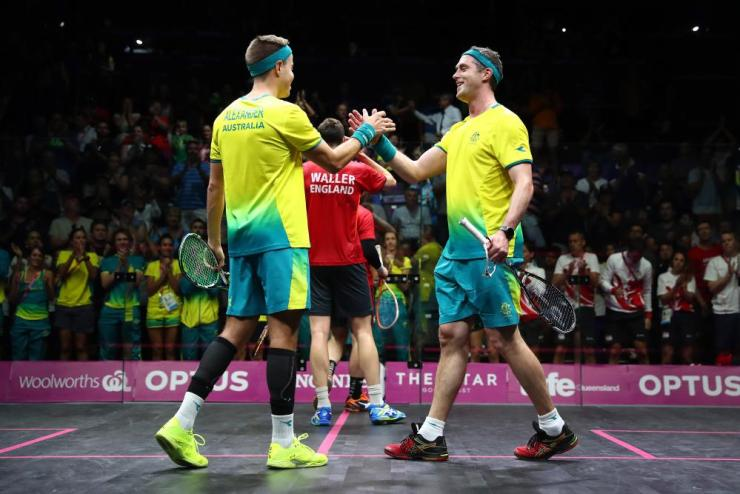 David Palmer and Zac Alexander of Australia celebrate winning against Adrian Waller and Daryl Selby of England during the Men's Doubles Gold MedalÊ Squash on day 11 of the Gold Coast 2018 Commonwealth Games.