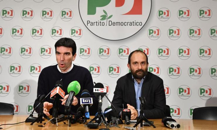 Maurizio Martina (L), agriculture policies minister, and Matteo Orfini, president of the PD