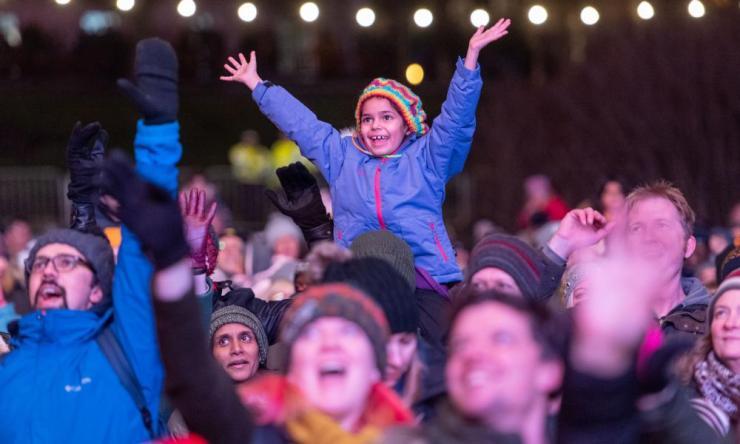 Crowds celebrate in Edinburgh.