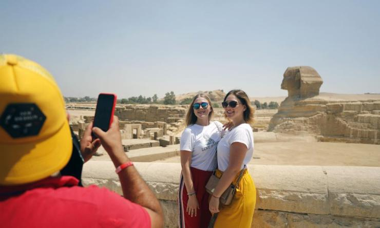Tourists visiting the Sphinx of Giza. Egypt has reopened tourist attractions for the first time since the Covid-19 closure in March.
