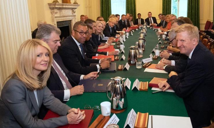 The new cabinet. Around the table from bottom left: Esther McVey, James Cleverly, Alun Cairns, Gavin Williamson, Liz Truss, Sir Mark Sedwill, Prime Minister Boris Johnson, Sajid Javid, Amber Rudd, Robert Jenrick, Alister Jack, Nicky Morgan and Rishi Sunak, Mark Spencer, Jacob Rees Mogg, Alok Sharma, Baroness Evans, Andrea Leadsom, Stephen Barclay, Michael Gove,hidden, hidden, Julian Smith, Geoffrey Cox and Oliver Dowden.