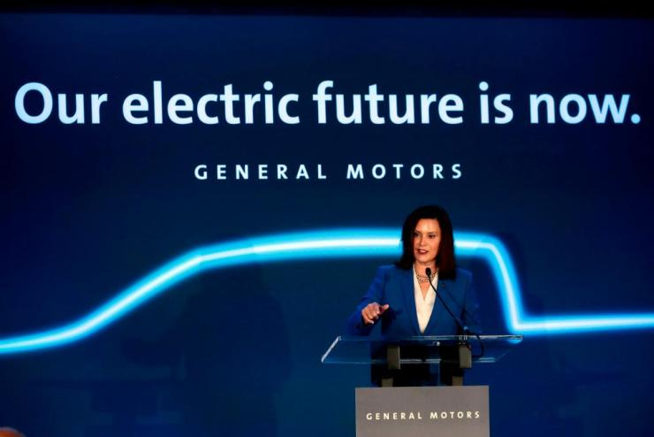 Michigan governor Gretchen Whitmer speaks at the Detroit- Hamtramck assembly plant in Detroit, Michigan.