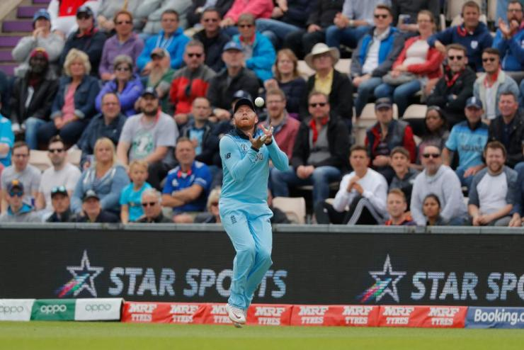 England's Jonny Bairstow catches out West Indies Chris Gayle.