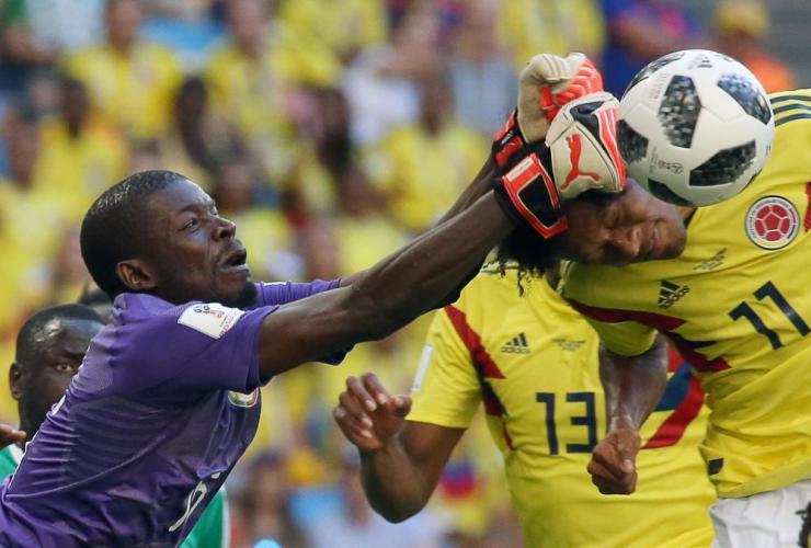 Senegal's goalkeeper Khadim N'Diaye in action.