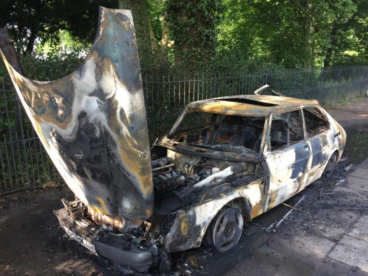 A burnt-out car following riots at the G20 summit in Hamburg
