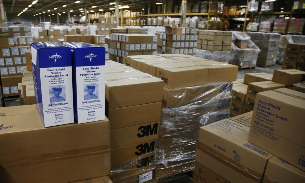 Face shields and other supplies are pictured at Oklahoma's Strategic National Stockpile warehouse in Oklahoma City, Tuesday, 7 April 2020.