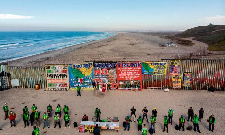Aerial view of a protest Playas de Tijuana, Baja California state, on the border with the US.