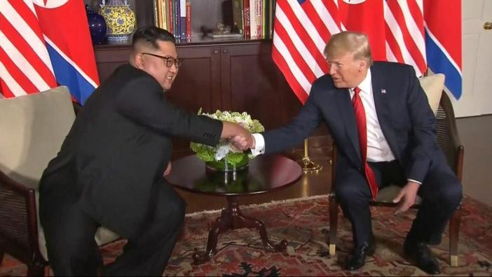 Donald Trump and Kim Jong-un shake hands ahead of their meeting at Capella Hotel in Singapore