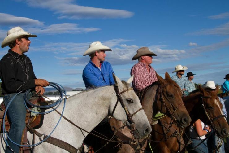 Competitors at the 2018 rodeo national finals: Andrew Jamieson, Bert Elstob, Marcus Spencer-Bower and Murray Helliwell.