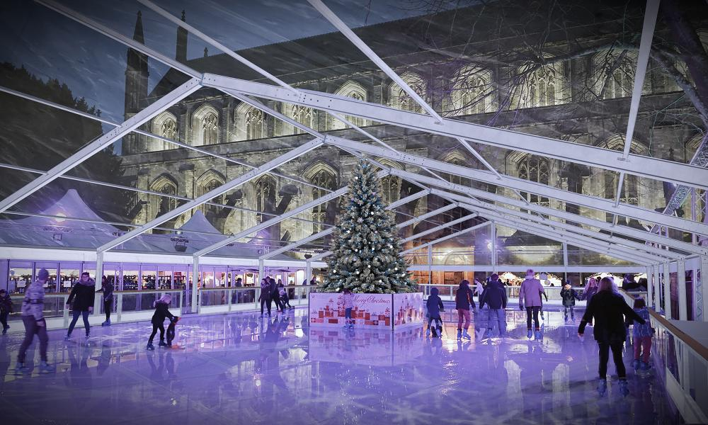 The ice rink at Winchester Cathedral