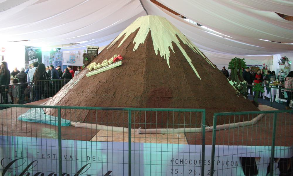 a chocolate replica of the Villarrica volcano.
