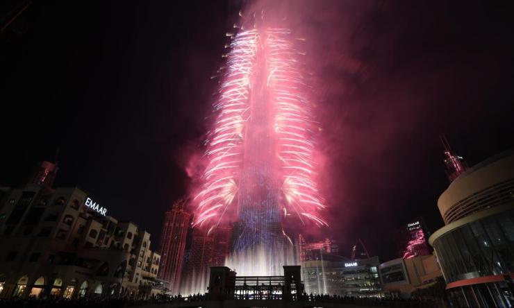 Fireworks illuminate the sky around Burj Khalifa, the tallest building in the world, during 2020 celebrations in Dubai.