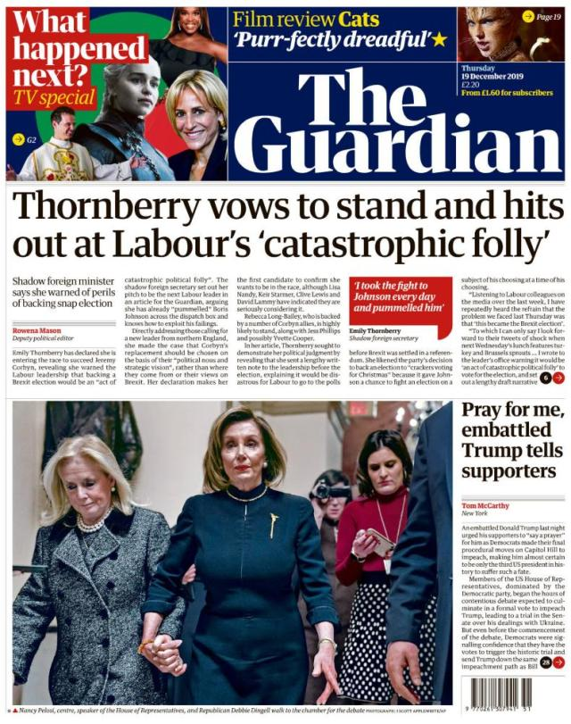 The Guardian front page, Thursday 19 December 2019