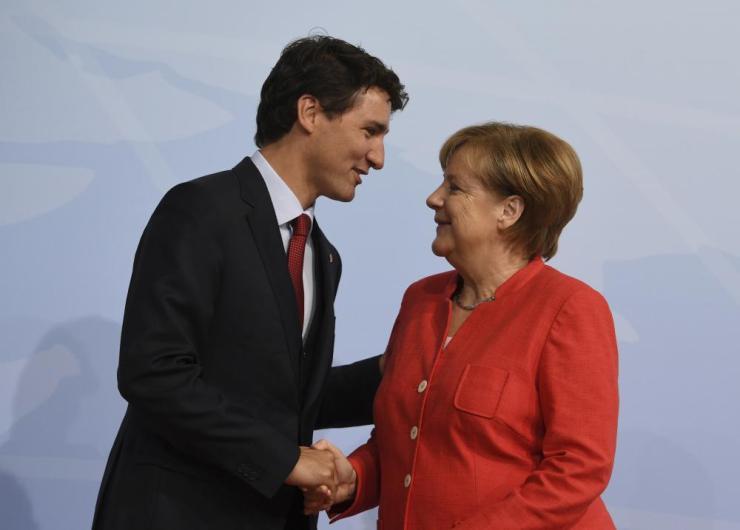 Merkel with Canada's prime minister Justin Trudeau.