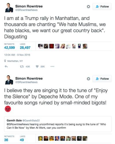 Tweets falsely claiming Trump supporters were making racist chants