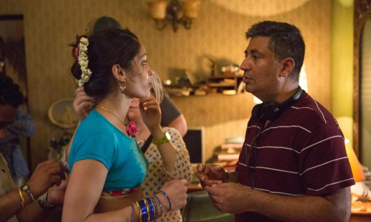 Tabrez Noorani with Freida Pinto on the set of Love Sonia.