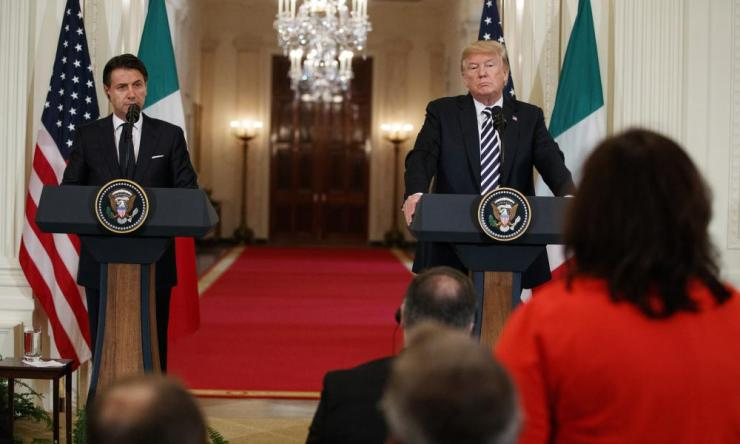 Trump and Conte at a press conference at the White House last month