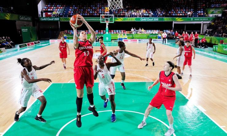 Azania Stewart attempts a lay up during the match between Mozambique and England.