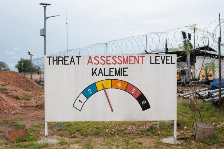 A board at Kalemie airport in Tanganyika province indicates the current threat level